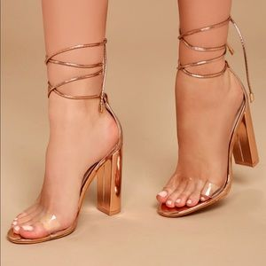 caa10db591aed3 Lulu s Shoes - Rose Gold Lace Up Heels